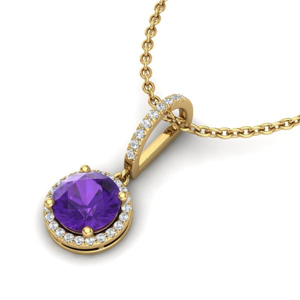 2 ctw Amethyst & Micro Pave VS/SI Diamond Necklace 18k Yellow Gold - REF-42R4K