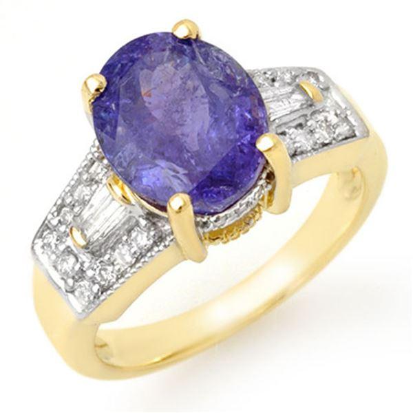 5.55 ctw Tanzanite & Diamond Ring 10k Yellow Gold - REF-144K8Y