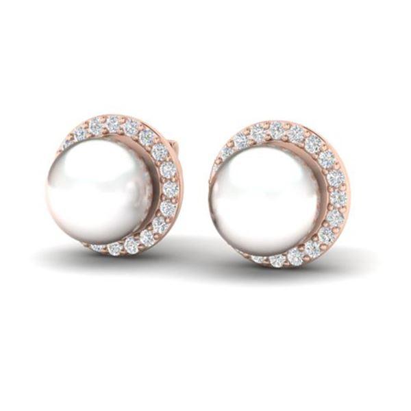 0.50 ctw Micro Pave VS/SI Diamond & Pearl Earrings 14k Rose Gold - REF-46R5K