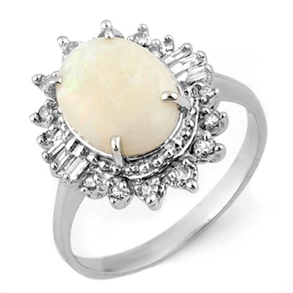 3.45 ctw Opal & Diamond Ring 10k White Gold - REF-44N2F