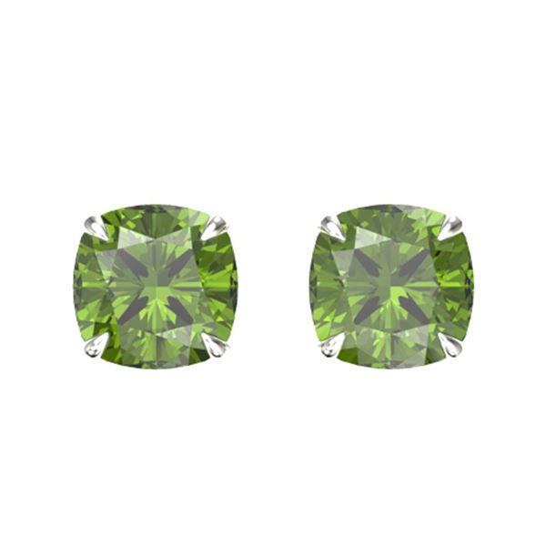 4 ctw Cushion Green Tourmaline Designer Stud Earrings 18k White Gold - REF-47Y2X