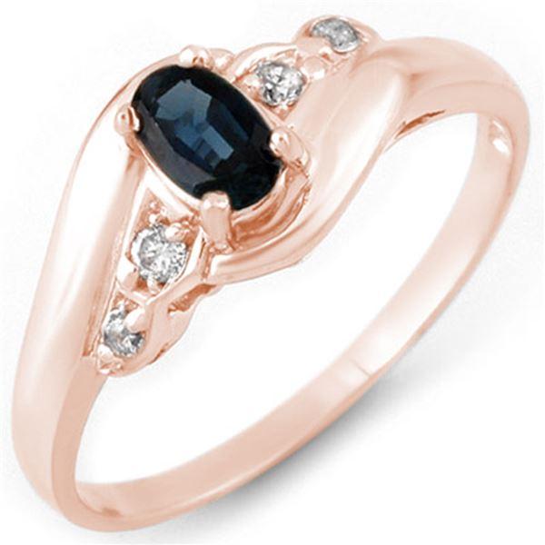 0.42 ctw Blue Sapphire & Diamond Ring 14k Rose Gold - REF-18M2G