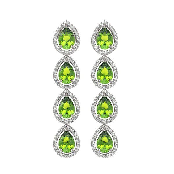7.46 ctw Peridot & Diamond Micro Pave Halo Earrings 10k White Gold - REF-153W5H