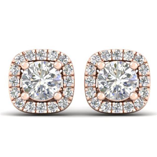 1.08 ctw Certified VS/SI Diamond Stud Halo Earrings 14k Rose Gold - REF-103W3H