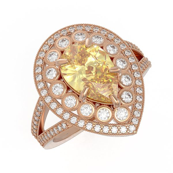 4.12 ctw Canary Citrine & Diamond Victorian Ring 14K Rose Gold - REF-125A5N
