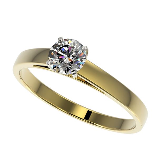 0.53 ctw Certified Quality Diamond Engagment Ring 10k Yellow Gold - REF-37M6G