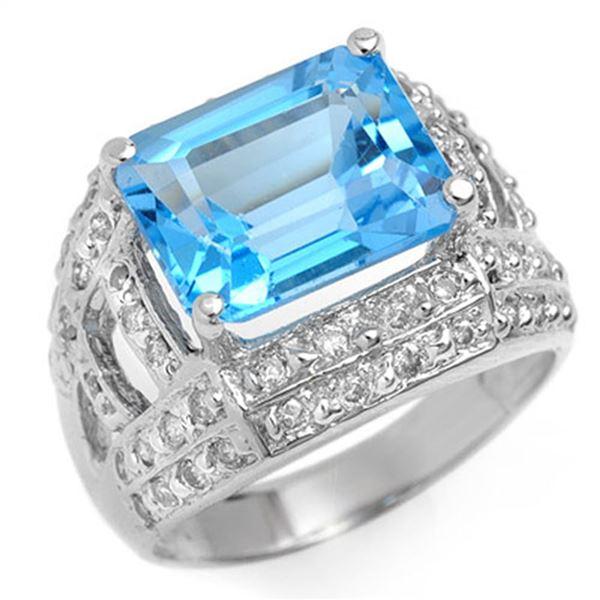 6.50 ctw Blue Topaz & Diamond Ring 14k White Gold - REF-79N8F