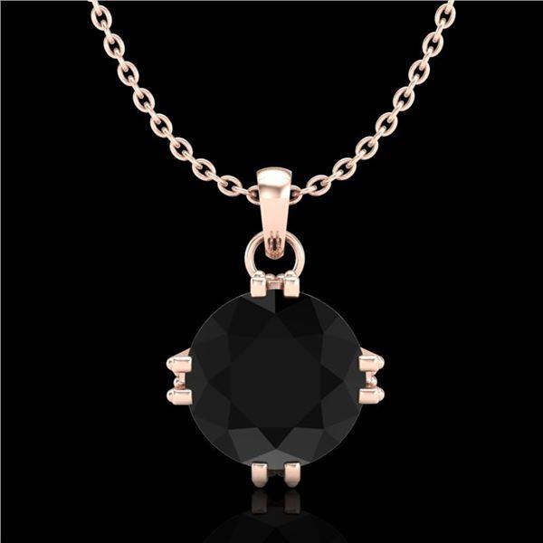 1 ctw Fancy Black Diamond Art Deco Stud Necklace 18k Rose Gold - REF-52H3R