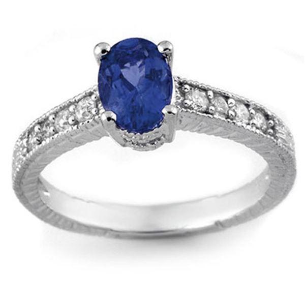 1.02 ctw Blue Sapphire & Diamond Ring 14k White Gold - REF-25N9F
