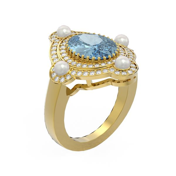 4.18 ctw Blue Topaz & Diamond Ring 18K Yellow Gold - REF-161K8Y
