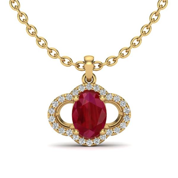 2 ctw Ruby & Micro Pave VS/SI Diamond Certified Necklace 10k Yellow Gold - REF-31M4G