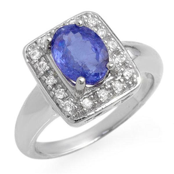 2.65 ctw Tanzanite & Diamond Ring 18k White Gold - REF-96M4G