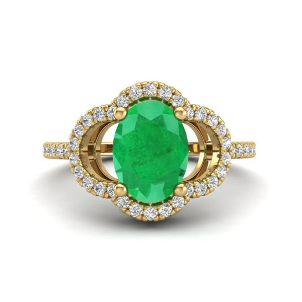 2 ctw Emerald & Micro Pave VS/SI Diamond Certified Ring 10k Yellow Gold - REF-34K3Y