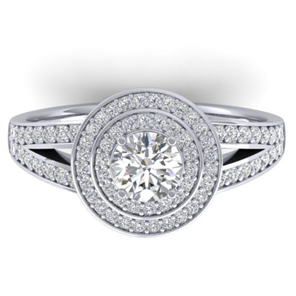 1.15 ctw Certified VS/SI Diamond Art Deco Halo Ring 14k White Gold - REF-154M5G