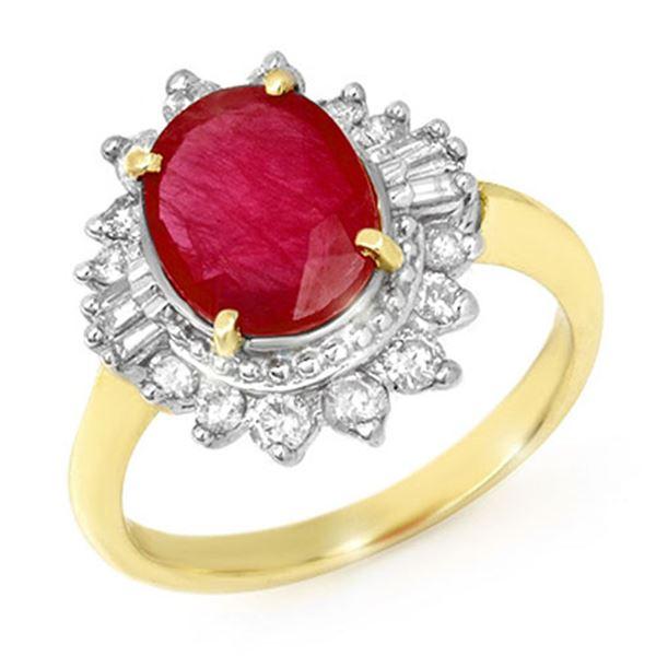 4.50 ctw Ruby & Diamond Ring 14k Yellow Gold - REF-100A2N