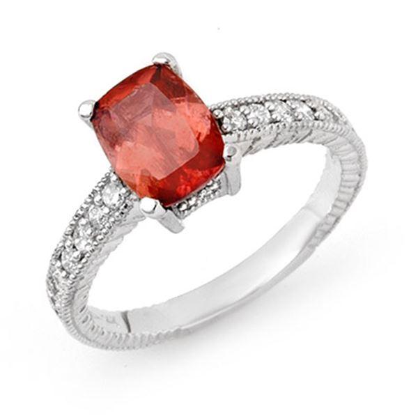 1.40 ctw Rubellite & Diamond Ring 14k White Gold - REF-38F9M