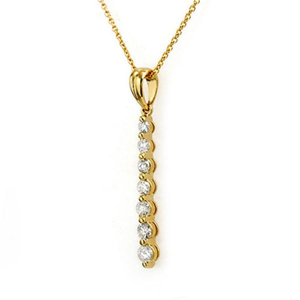 0.50 ctw Certified VS/SI Diamond Necklace 14k Yellow Gold - REF-29A6N