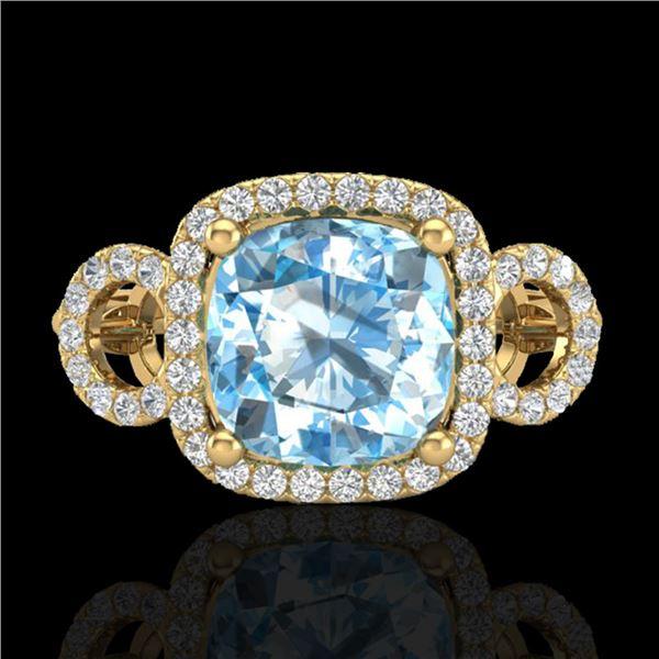 3.75 ctw TOPAZ & Micro VS/SI Diamond Certified Ring 18k Yellow Gold - REF-50G4W