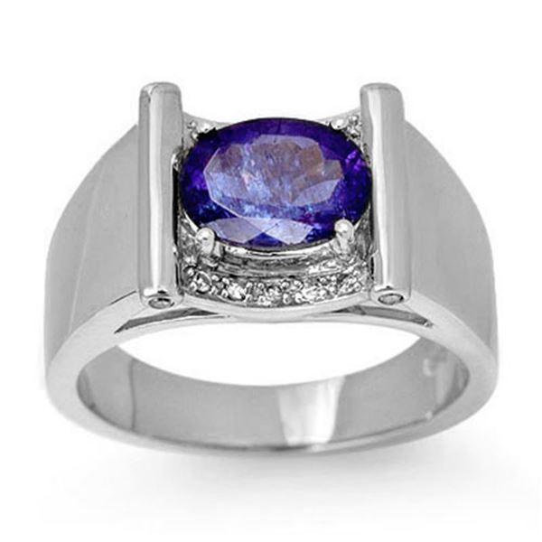 2.18 ctw Tanzanite & Diamond Men's Ring 10k White Gold - REF-53X5A