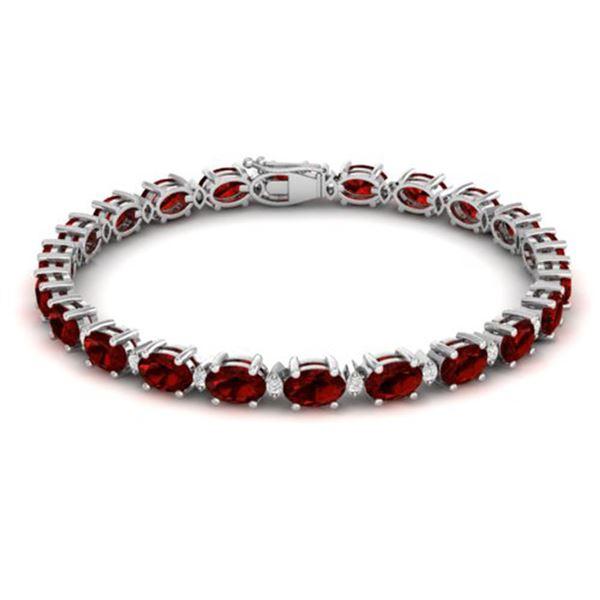 25.8 ctw Garnet & VS/SI Certified Diamond Eternity Bracelet 10k White Gold - REF-119M3G