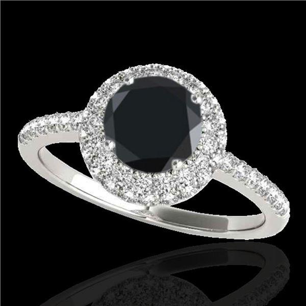 2.15 ctw Certified VS Black Diamond Solitaire Halo Ring 10k White Gold - REF-45M2G
