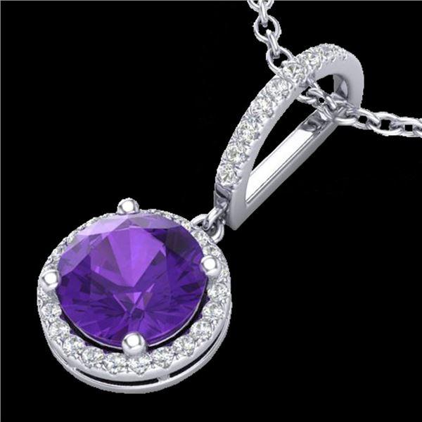 2 ctw Amethyst & Micro Pave VS/SI Diamond Necklace 18k White Gold - REF-42W4H