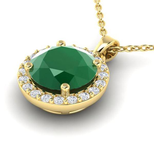 2 ctw Emerald & Halo VS/SI Diamond Micro Pave Necklace 18k Yellow Gold - REF-38H2R