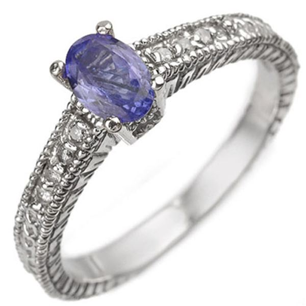 0.66 ctw Tanzanite & Diamond Ring 18k White Gold - REF-36K6Y