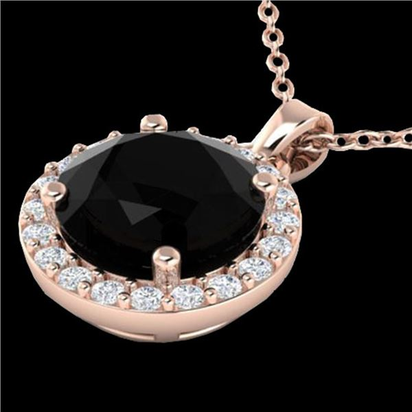 2 ctw Halo VS/SI Diamond Micro Pave Necklace Solitaire 14k Rose Gold - REF-55W2H