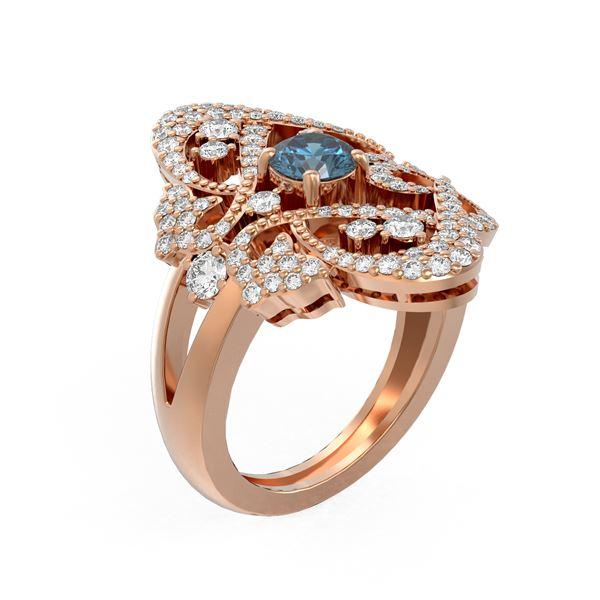 2.02 ctw Intense Blue Diamond Ring 18K Rose Gold - REF-234F4M