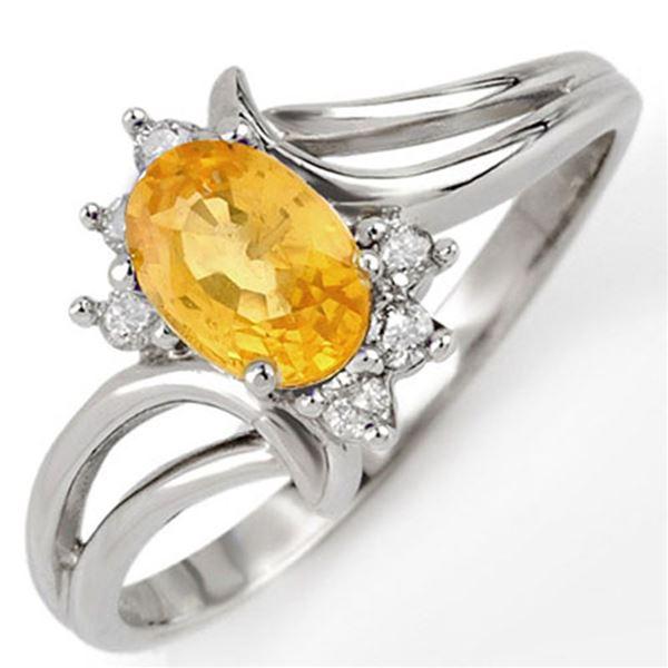 0.70 ctw Yellow Sapphire & Diamond Ring 18k White Gold - REF-25W2H