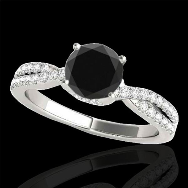 1.3 ctw Certified VS Black Diamond Solitaire Ring 10k White Gold - REF-51X3A