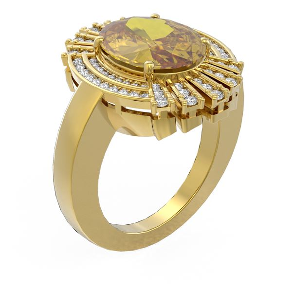 6.72 ctw Canary Citrine & Diamond Ring 18K Yellow Gold - REF-165A8N