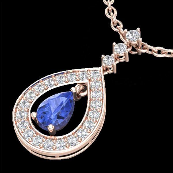1.15 ctw Tanzanite & Micro Pave VS/SI Diamond Necklace 14k Rose Gold - REF-49R3K