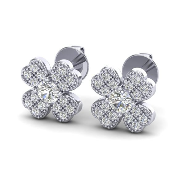 0.54 ctw Micro Pave VS/SI Diamond Certified Earrings 18k White Gold - REF-45F3M