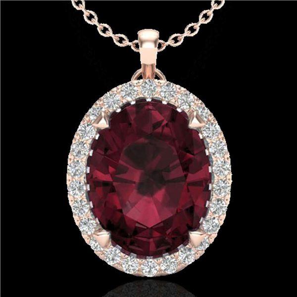 2.75 ctw Garnet & Micro VS/SI Diamond Halo Necklace 14k Rose Gold - REF-28A9N