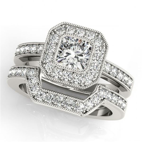 1.05 ctw Certified VS/SI Cushion Diamond 2pc Set Halo 14k White Gold - REF-128N2F
