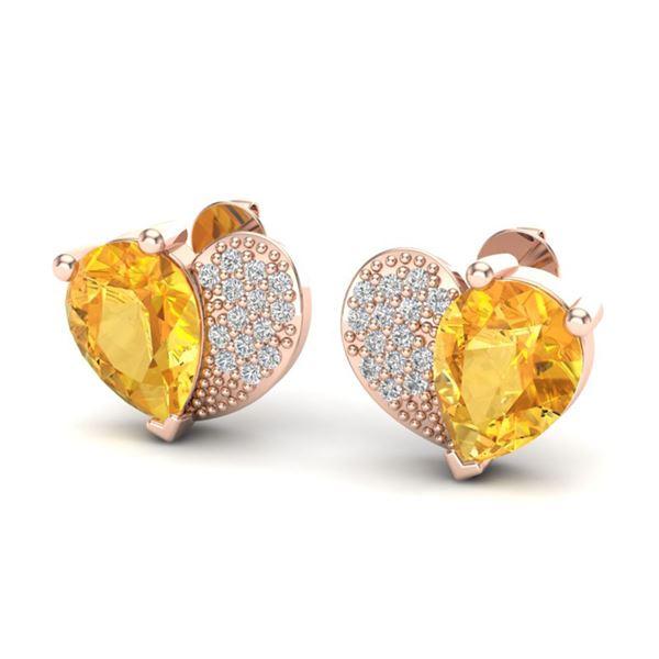2.50 ctw Citrine & Micro Pave VS/SI Diamond Earrings 10k Rose Gold - REF-22N5F