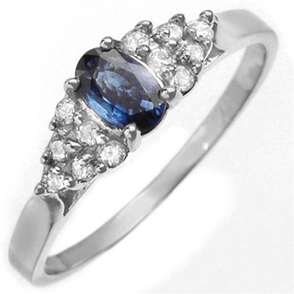 0.74 ctw Blue Sapphire & Diamond Ring 18k White Gold - REF-20F5M