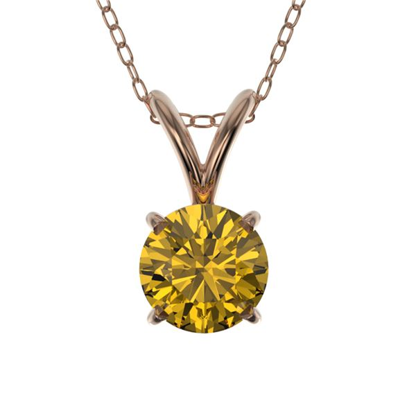 0.53 ctw Certified Intense Yellow Diamond Necklace 10k Rose Gold - REF-57A8N
