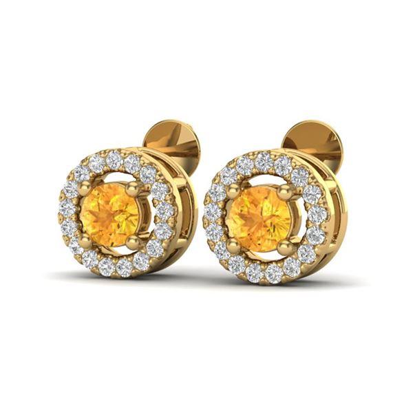 0.75 ctw Citrine & Micro Pave VS/SI Diamond Earrings Halo 18k Yellow Gold - REF-34R3K