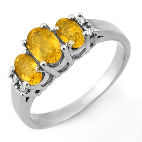 1.39 ctw Yellow Sapphire & Diamond Ring 18k White Gold - REF-40A9N