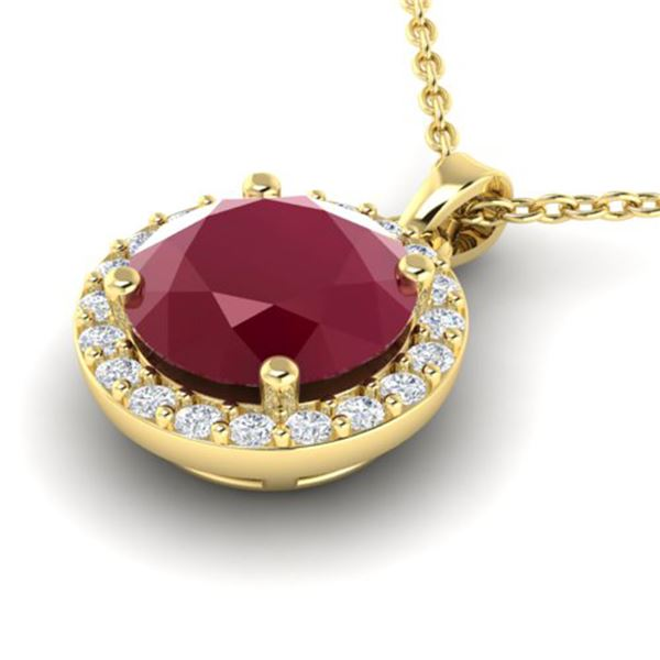 2 ctw Ruby & Halo VS/SI Diamond Micro Pave Necklace 18k Yellow Gold - REF-34M4G