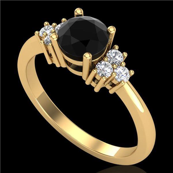 1 ctw Fancy Black Diamond Engagment Ring 18k Yellow Gold - REF-49A3N