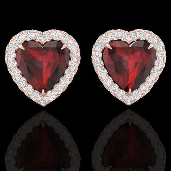 2.22 ctw Garnet & Micro Pave Diamond Earrings Heart 14k Rose Gold - REF-38K2Y