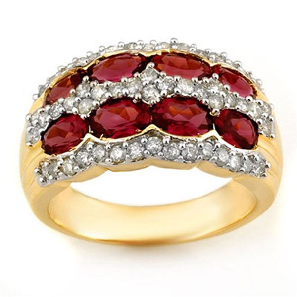 3.0 ctw Pink Tourmaline & Diamond Ring 14k Yellow Gold - REF-105A5N