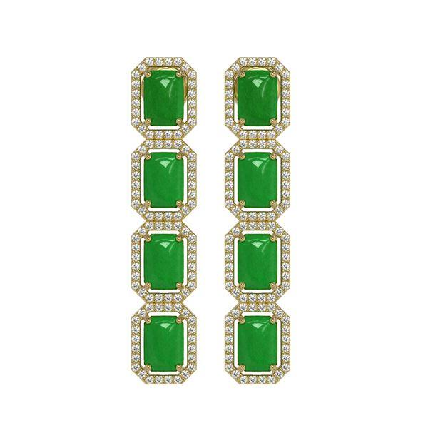11.93 ctw Jade & Diamond Micro Pave Halo Earrings 10k Yellow Gold - REF-146K4Y