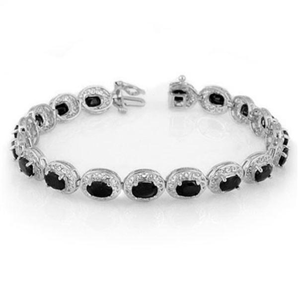 12.0 ctw Blue Sapphire Bracelet 18k White Gold - REF-138M5G