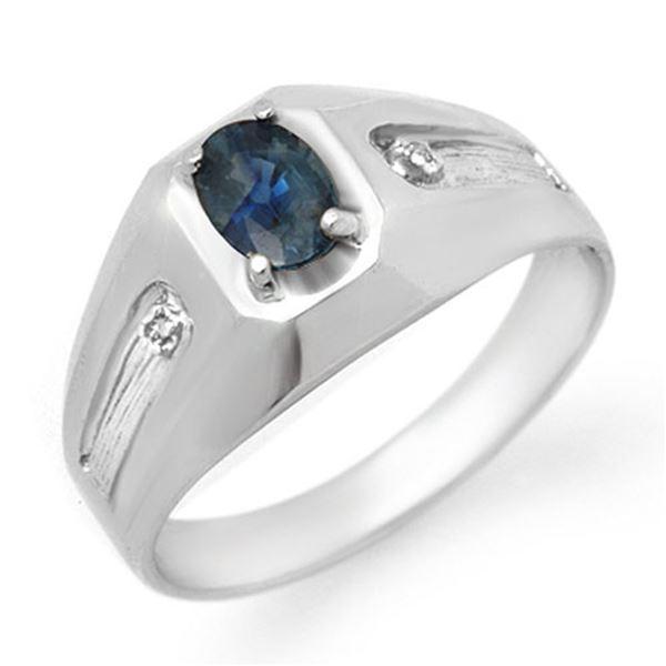 0.68 ctw Blue Sapphire & Diamond Men's Ring 10k White Gold - REF-23R9K