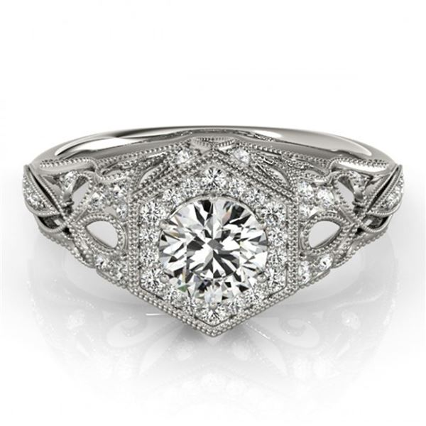 0.9 ctw Certified VS/SI Diamond Halo Ring 18k White Gold - REF-109N3F